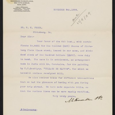 Letter from M. Knoedler & Co. to Henry Clay Frick, 8 November 1899 [front]