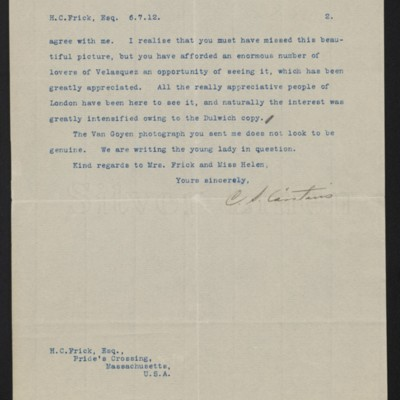 Letter from C.S. Carstairs to [Henry Clay] Frick, 6 July 1912 [page 2 of 2]