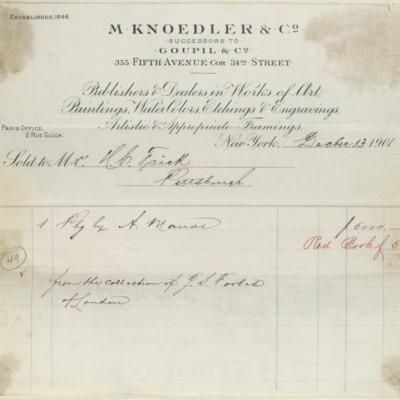 M. Knoedler & Co. Invoice, 13 December 1901