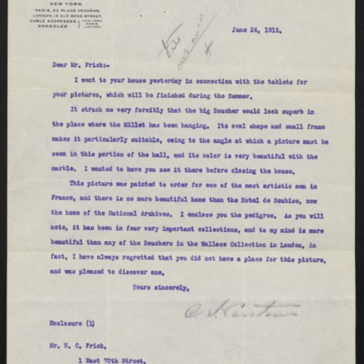Letter from C.S. Carstairs to H.C. Frick, 24 June 1915