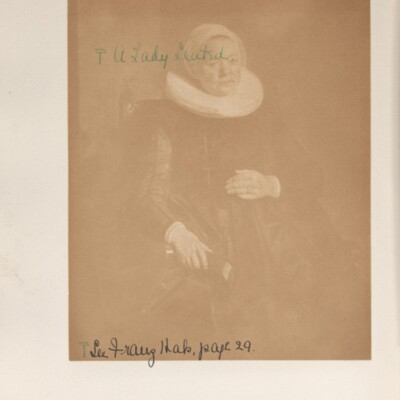 """Catalog of Portraits, 1909-1911, 1929 [unnumbered page facing Hals' """"Portrait of a Woman""""]"""