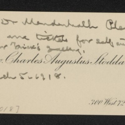 Calling card of Rev. Charles Augustus Stoddard, with note to Dr. Mendenhall, 5 March 1918