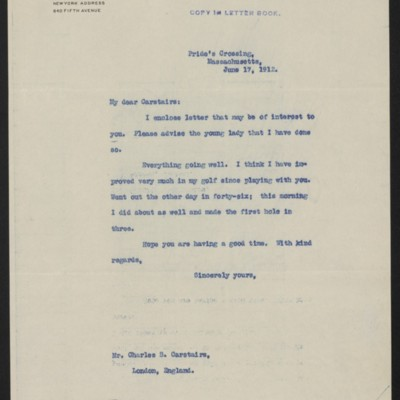 Letter from Henry Clay Frick to Charles S. Carstairs, 17 June 1912
