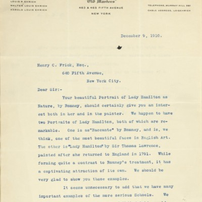 Letter from Louis R. Ehrich to Henry Clay Frick, 9 December 1910
