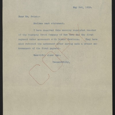 Letter from [W.J. Naughton] to Henry Clay Frick, 1 May 1919