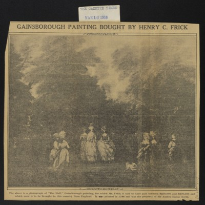 "Clipping, ""Gainsborough Painting Bought by Henry C. Frick,"" 1916"