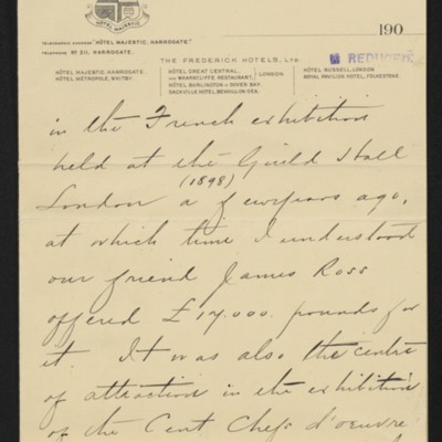 Letter from Charles S. Carstairs to [Henry Clay] Frick, 12 August 1906 [page 4 of 6]