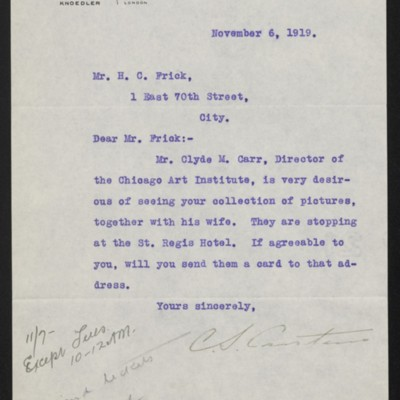 Letter from C.S. Carstairs to H.C. Frick, 6 November 1919