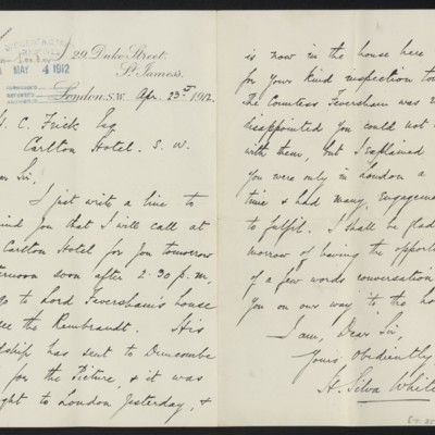 Letter from H. Silva White to Henry Clay Frick, 23 April 1912