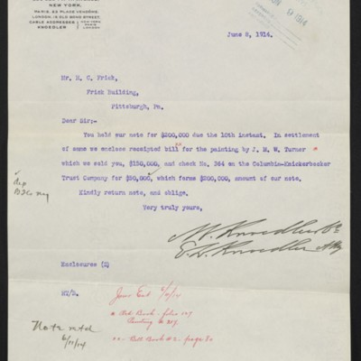 Letter from M. Knoedler & Co. to H.C. Frick, 8 Jun 1914