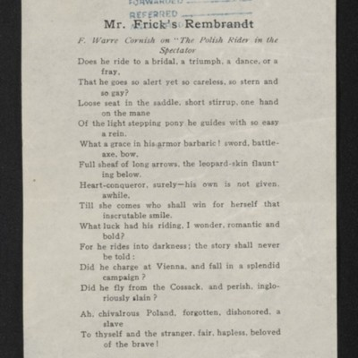 "Poem by F. Warre Cornish, entitled ""Mr. Frick's Rembrandt,"" 7 January 1913"