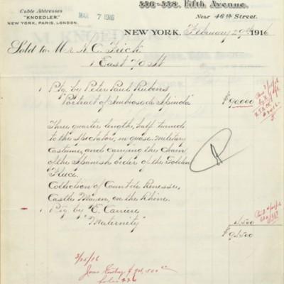 M. Knoedler & Co. Invoice, 29 February 1916