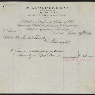 M. Knoedler & Co. Invoice, 29 September 1896