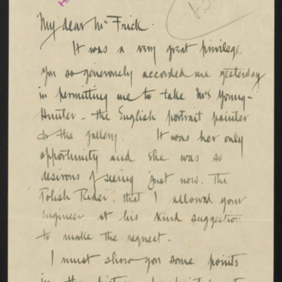 Letter from Welles Bosworth to [H.C.] Frick, 12 July 1919 [page 1 of 2]
