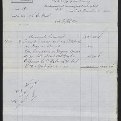 Invoice from E.L. Knoedler to H.C. Frick, 8 November 1905 [page 5 of 5]