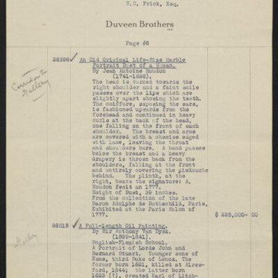 Invoice from Duveen Brothers to H.C. Frick, 20 February 1919 [page 6 of 7]