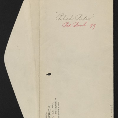 """Envelope for documents re purchase of """"The Polish Rider,"""" [1910]"""