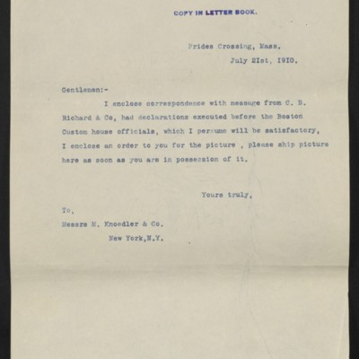 Letter from [Henry Clay Frick] to M. Knoedler & Co., 21 July 1910