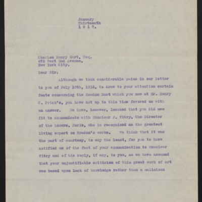 Copy of a letter from [Duveen Brothers] to Charles Henry Hart, 13 January 1917 [page 1 of 5]