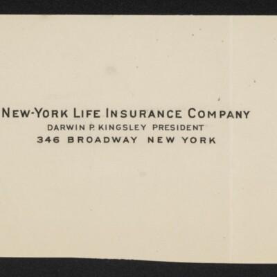 Fragment of stationery of Seymour M. Ballard, Secretary of New-York Life Insurance Co., circa March 1918