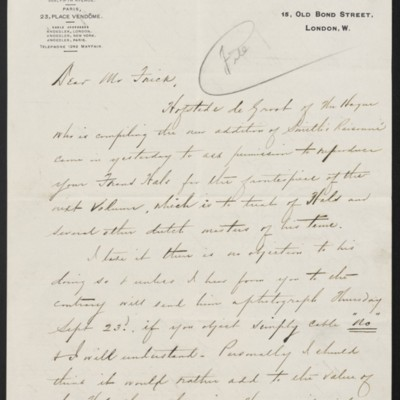 Letter from Charles Carstairs to Henry Clay Frick, 14 September 1909