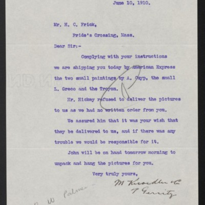 Letter from M. Knoedler & Co. to Henry Clay Frick, 10 June 1910