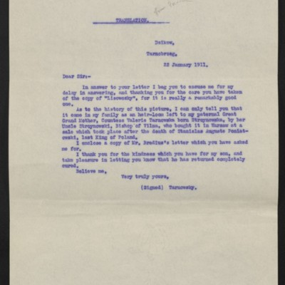 Translation of a letter from Count Tarnowsky to [Roger E. Fry?], 22 January 1911