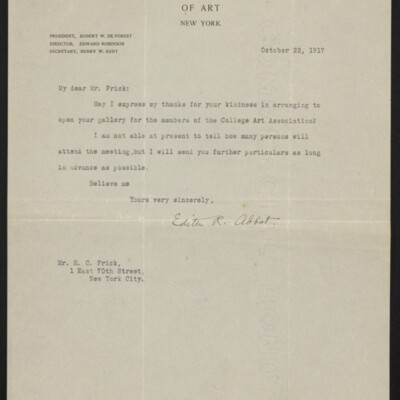 Letter fro Edith R. Abbot to H.C. Frick, 22 October 1917