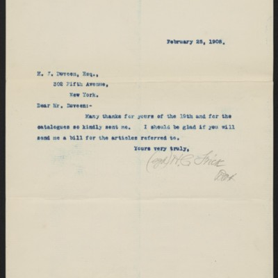 Letter from Henry Clay Frick to H.J. Duveen, 25 February 1908