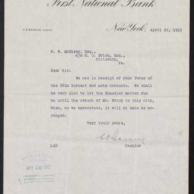 Letter from First National Bank to F.W. McElroy, 27 April 1912