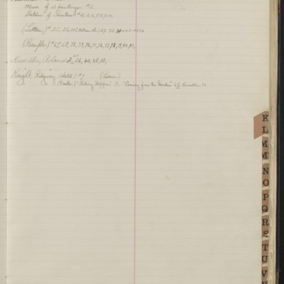 Bill Book No. 1, Index K