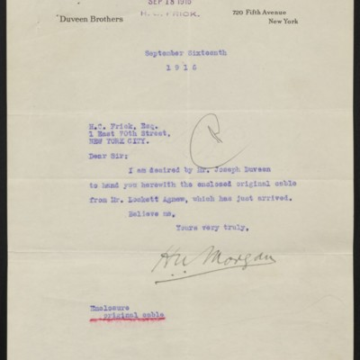 Letter from Duveen Brothers to Henry Clay Frick, 16 September 1916