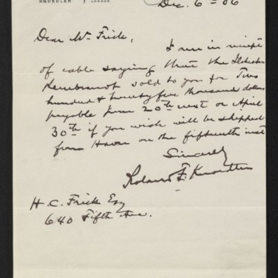 Letter from Roland F. Knoedler to Henry Clay Frick, 6 December 1906