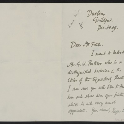 Letter from Roger E. Fry to Henry Clay Frick, 14 December 1909