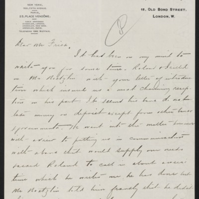 Letter from Charles S. Carstairs to Henry Clay Frick, 22 June 1907