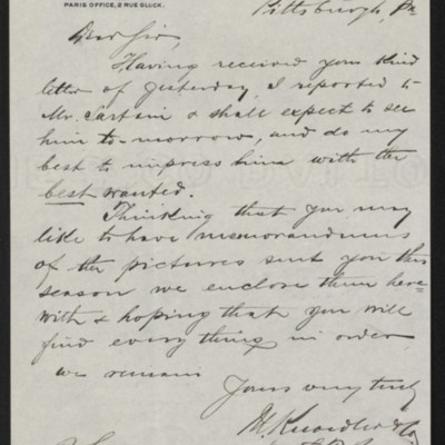 Letter from M. Knoedler & Co. to Henry Clay Frick, 29 September 1896