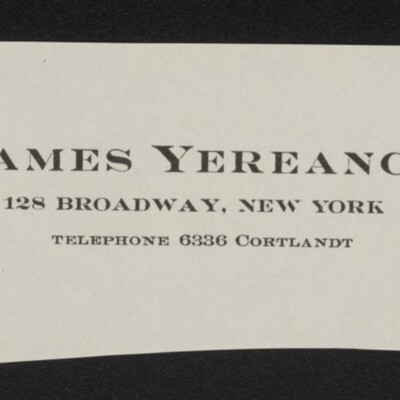 Fragment of stationery of James Yereance, circa march 1918