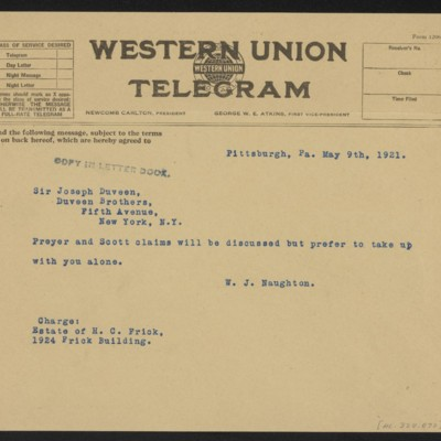 Cable from W.J. Naughton to Joseph Duveen, 9 May 1921