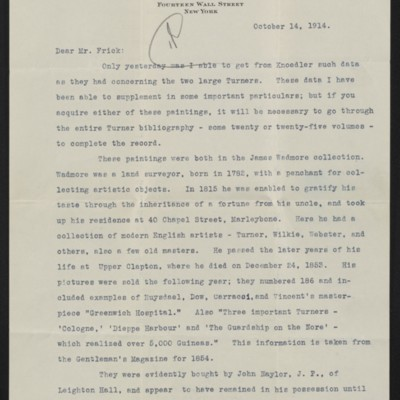 Letter from J.H. Bridge to H.C. Frick, 14 October 1914 [page 1 of 2]