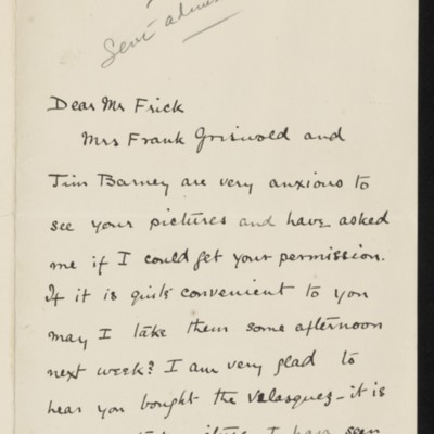 Letter from John S. Phipps to [H.C.] Frick, 8 March [no year]