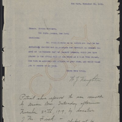 Letter from W.J. Naughton to Duveen Brothers, with annotation, 29 November 1919