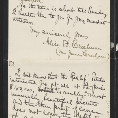 Letter from Alice B. Creelman to [H.C] Frick, 9 April 1915 [page 4 of 4]