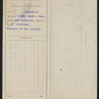 Voucher prepared by Henry Clay Frick's secretary, 30 December 1899