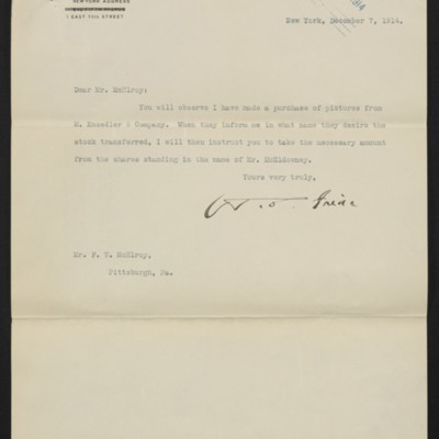 Letter from H.C. Frick to F.W. McElroy, 7 December 1914 [front]