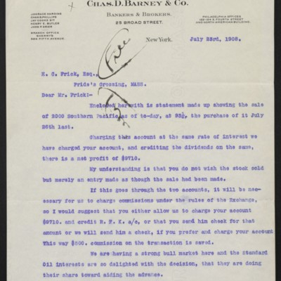 Letter from J. Horace Harding to Henry Clay Frick, 23 July 1908