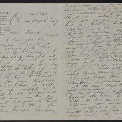 Letter from Charles L. Knoedler to Henry Clay Frick, 6 August 1907