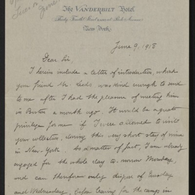 Letter from André Rostand to [Henry Clay Frick], 9 June 1918 [page 1 of 2]
