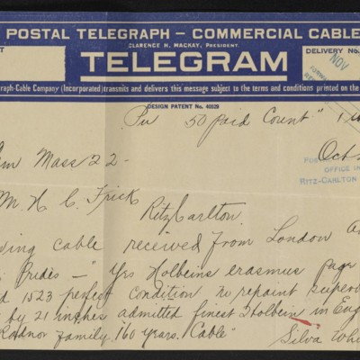 Cable from H. Silva White to H.C. Frick, 22 October 1912 [front]