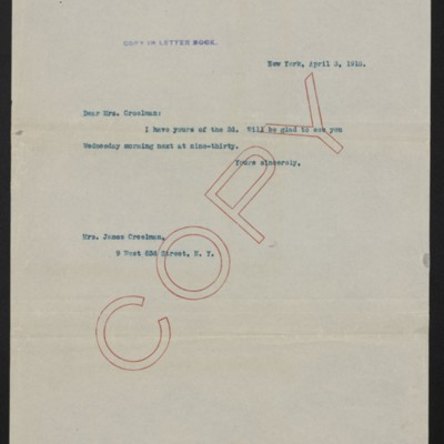 Letter from [H.C. Frick] to [Alice] Creelman, 3 April 1915