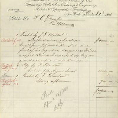 M. Knoedler & Co. Invoice, 30 December 1898
